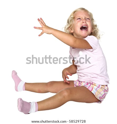 portrait of young caucasian little girl cry on white background - stock photo