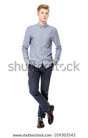 Portrait of young caucasian man isolated on white - stock photo