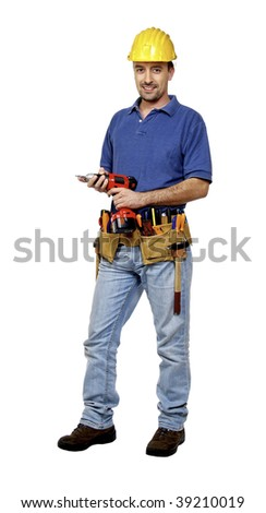 portrait of young caucasian positive handyman isolated on white with red drill - stock photo