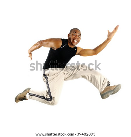 Portrait of young cheerful african american man jumping isolated - stock photo