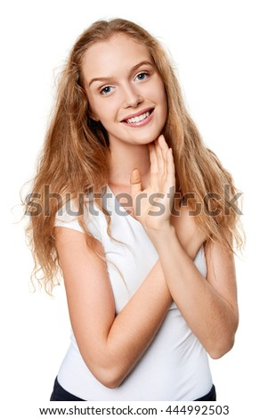 Portrait of young cheerful smiling teen girl, over white background - stock photo