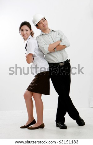 Portrait of young couple physician with Stethoscope  and his boyfriend standing together - stock photo