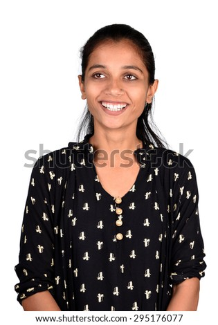 portrait of Young cute smiling girl on white background  - stock photo