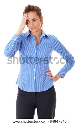 Portrait of young depressed and sad businesswoman, shoot over white background - stock photo