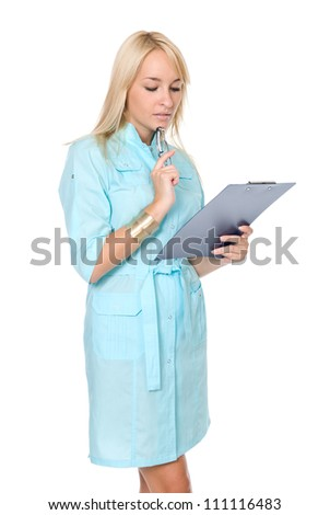 Portrait of young doctor or medic with clipboard isolated on white background - stock photo