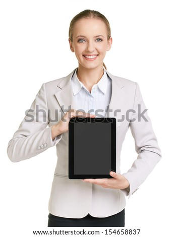 Portrait of young elegan female showing digital tablet - stock photo