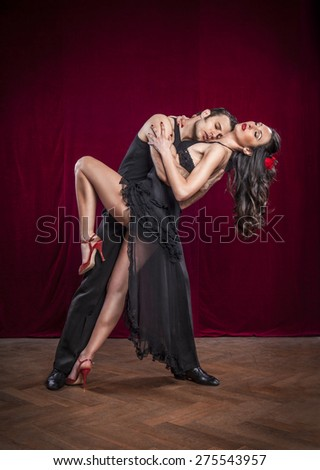 Portrait of young elegant tango dancers. - stock photo