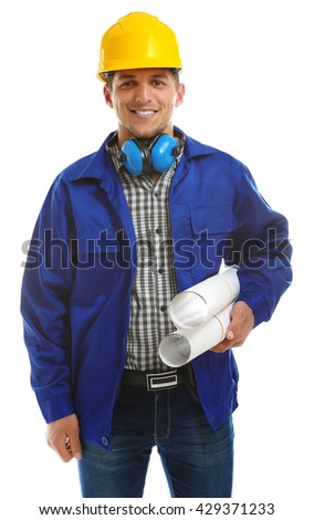 Portrait of young engineer in helmet with blueprints isolated on white - stock photo