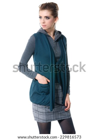 portrait of young fashion model posing white background  - stock photo
