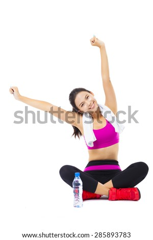 portrait of young  fitness woman - stock photo