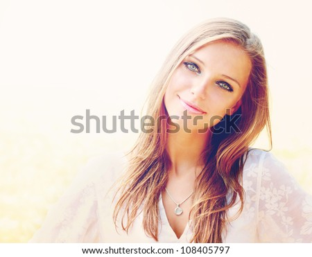 Portrait of young girl in summer - stock photo