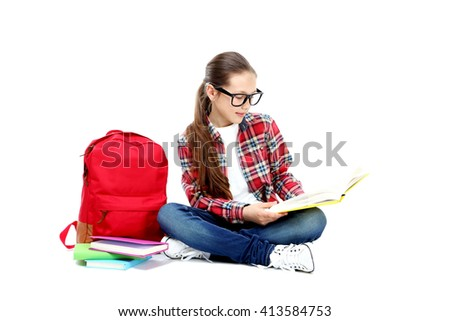 Portrait of young girl isolated on a white - stock photo