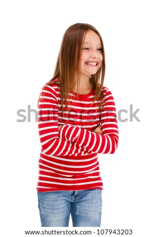 Portrait of young girl isolated on white background - stock photo