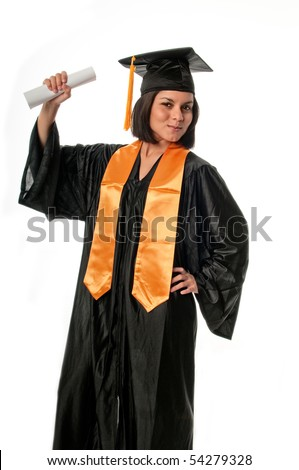 Portrait of young girl with graduation gown and diploma. - stock photo