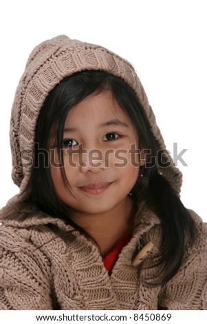 portrait of young girl with knit hoodie - stock photo