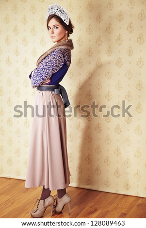 Portrait of young  girl with smart fair hair - stock photo