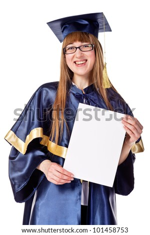 Portrait of young graduation woman. Isolated over white - stock photo
