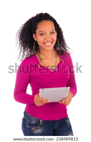 Portrait Of Young Happy African Woman Using Digital Tablet. - stock photo