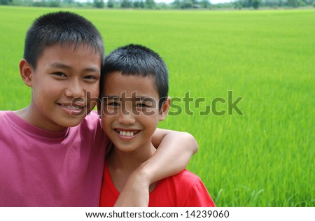 Portrait of young happy boys. - stock photo