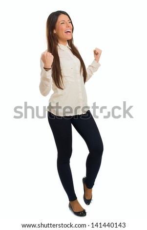 Portrait Of Young Happy Excited Woman Isolated Over White Background - stock photo