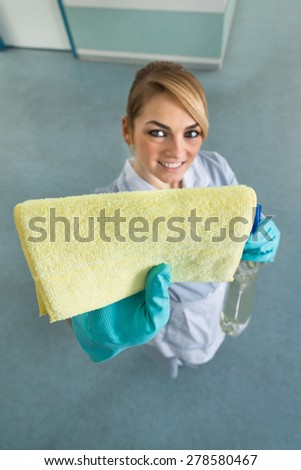 Portrait Of Young Happy Female Maid Cleaning With Cloth - stock photo