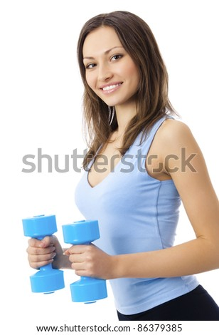 Portrait of young happy smiling woman in sportswear, doing fitness exercise with dumbbells, isolated over white background - stock photo