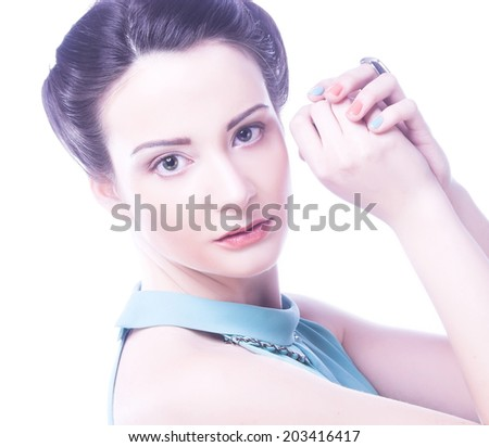 Portrait of young happy woman - stock photo