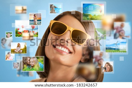 Portrait of young happy woman sharing her travel vacation photo and video files in social media  - stock photo