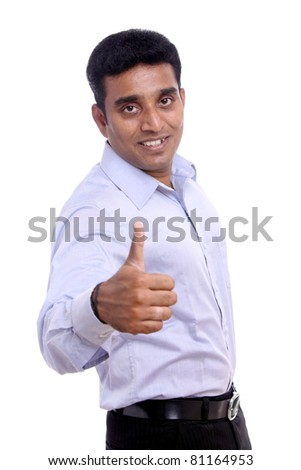 Portrait of Young Indian businessman. Isolated on white background - stock photo