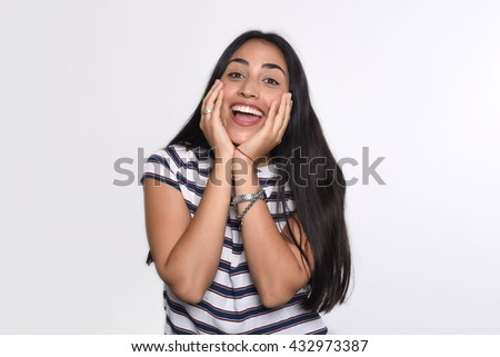 Portrait of young latin woman surprised. Isolated white background. - stock photo