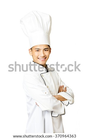 Portrait of young  male chef isolated on white - stock photo
