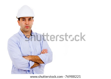 Portrait of young male civil engineer. Isolated on white background and much space for own text - stock photo