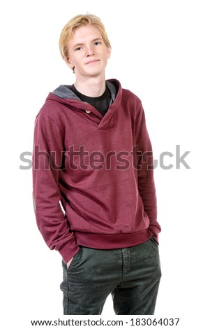 Portrait of young man in casual clothes. Isolated over white. - stock photo