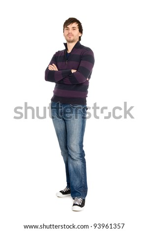 Portrait of young man in full length isolated on white background. - stock photo