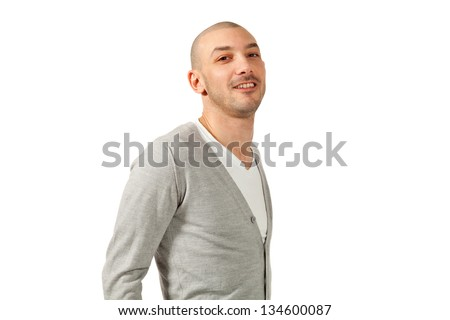 portrait of  young man in studio, isolated on white background - stock photo
