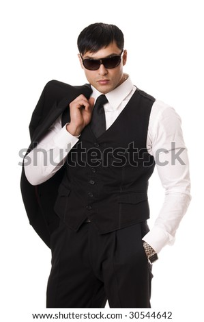 Portrait of young man in sunglasses isolated on white background - stock photo