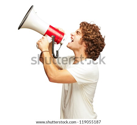 Portrait Of Young Man Shouting With A Megaphone Isolated On White Background - stock photo