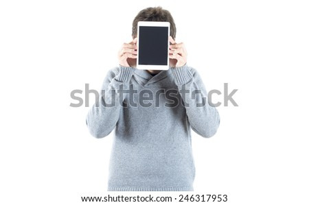 portrait of young man showing digital tablet   - stock photo