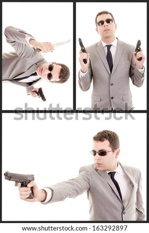 Portrait Of Young Man With Gun with a suit - stock photo
