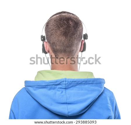 Portrait of young man with headphones close-up on a white background. Back view. - stock photo