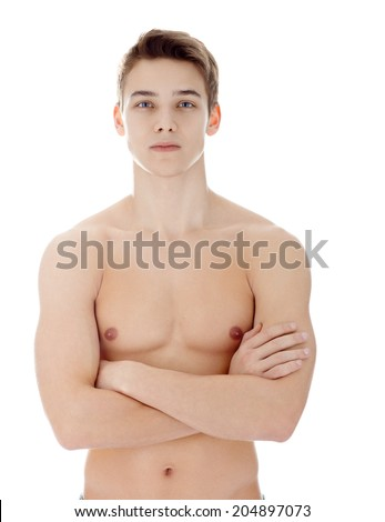 Portrait of young man with nude torso his arms crossed isolated on white background - stock photo