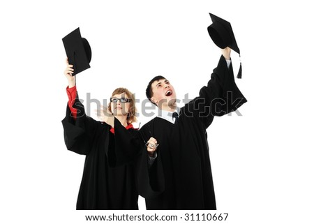 Portrait of young people in an academic gown. Educational theme. - stock photo