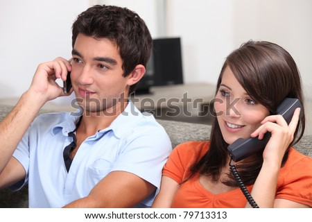 portrait of young people on the phone - stock photo