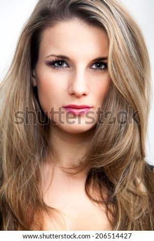 Portrait of young pretty attractive woman - studio foto  - stock photo