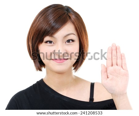 portrait of young pretty woman counting gesture - stock photo