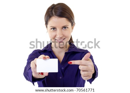 Portrait of young pretty woman holding blank business card - stock photo