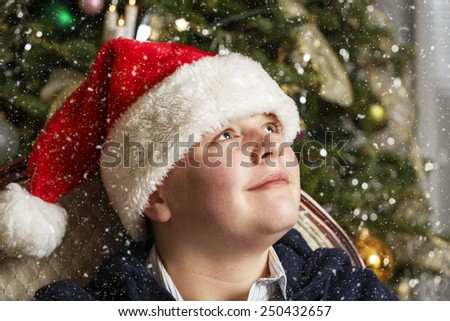 Portrait of Young Santa during Christmas Eve - stock photo