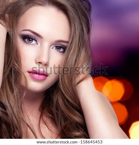 Portrait of young sensuality woman with beautiful pretty face with long hair - isolated on white - stock photo