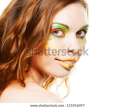 Portrait of young sexy lady with creative makeup - stock photo