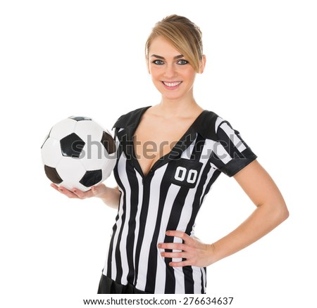 Portrait Of Young Sexy Soccer Referee With Football - stock photo